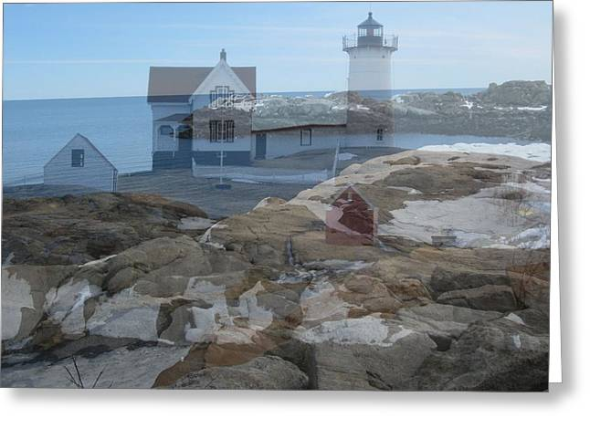 Nubble Light Watching Over The Rocky Shore Greeting Card by Patricia Urato