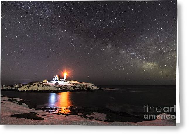 Cape Neddick Lighthouse Greeting Cards - Nubble Light with Milky Way Greeting Card by Patrick Fennell