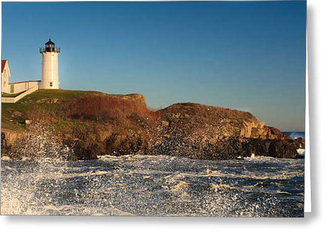Maine Beach Greeting Cards - Nubble Light with Rough Seas Greeting Card by Kyle Lee