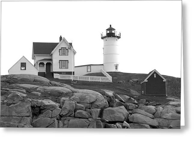 Cape Neddick Lighthouse Greeting Cards - Nubble Lighthouse 1 Greeting Card by Denise Mazzocco