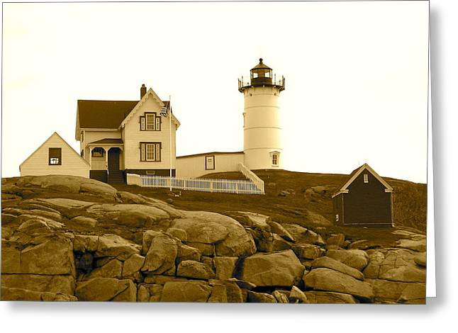 Cape Neddick Lighthouse Greeting Cards - Nubble Lighthouse 2 Greeting Card by Denise Mazzocco