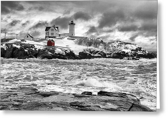 Nubble Lighthouse After The Storm Greeting Card by John Vose
