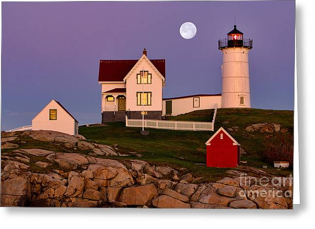 Cape Neddick Lighthouse Greeting Cards - Nubble Lighthouse and Moon Greeting Card by Jerry Fornarotto