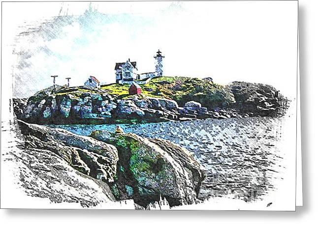 Cape Neddick Greeting Cards - Nubble Lighthouse at Cape Neddick Greeting Card by Spencer McKain