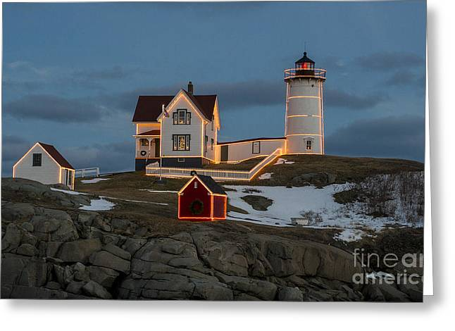 Cape Neddick Lighthouse Greeting Cards - Nubble lighthouse at Christmas Greeting Card by Steven Ralser