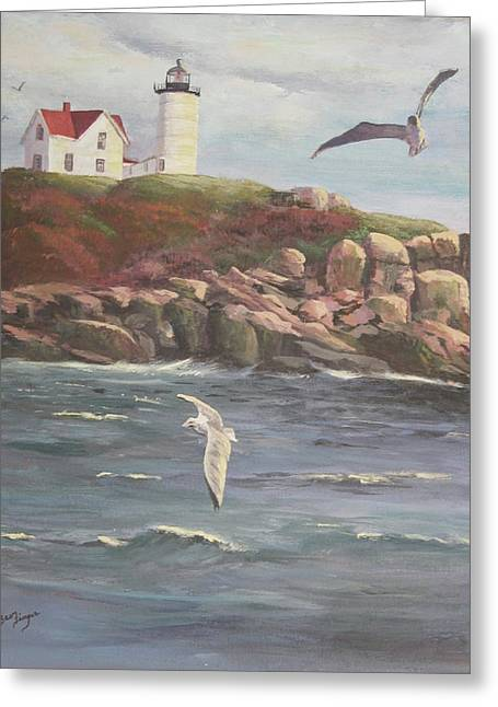 Nubble Lighthouse Paintings Greeting Cards - Nubble Lighthouse Greeting Card by Bev Finger