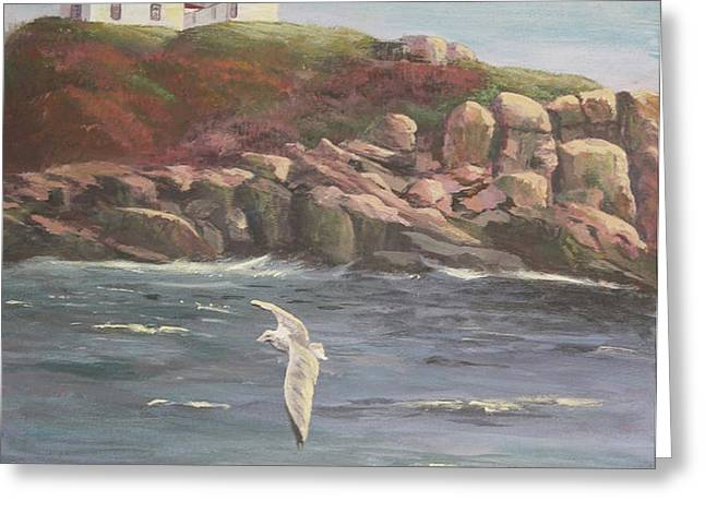 Nubble Lighthouse Greeting Card by Bev Finger