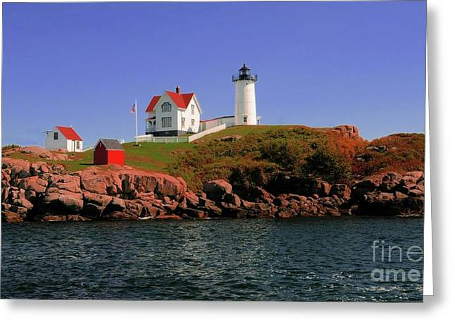 Struckle Greeting Cards - Nubble Lighthouse-Cape Neddick Greeting Card by Kathleen Struckle
