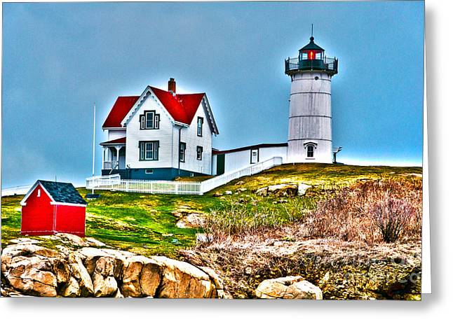 Maine Farmhouse Greeting Cards - Nubble Lighthouse Cape Neddick Maine 2 Greeting Card by Glenn Gordon