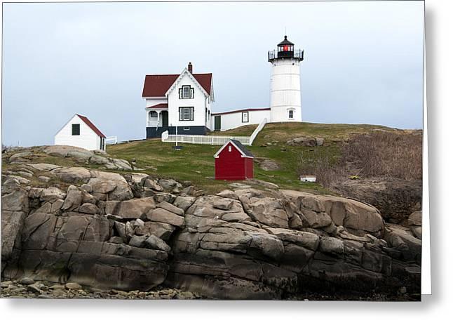 Cape Neddick Greeting Cards - Nubble Lighthouse Cape Neddick Maine 4 Greeting Card by Glenn Gordon