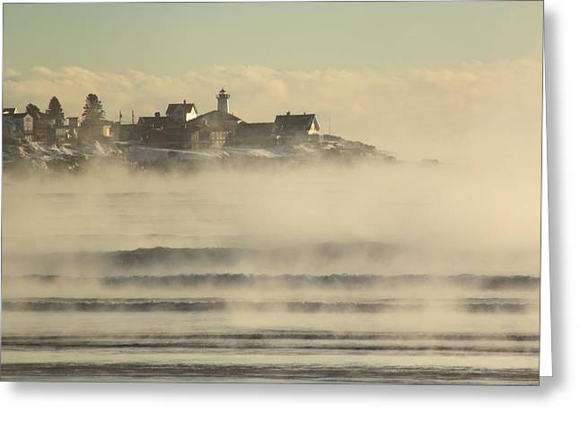 Cape Neddick Lighthouse Greeting Cards - Nubble Lighthouse Cape Neddick Sea Smoke Greeting Card by John Burk