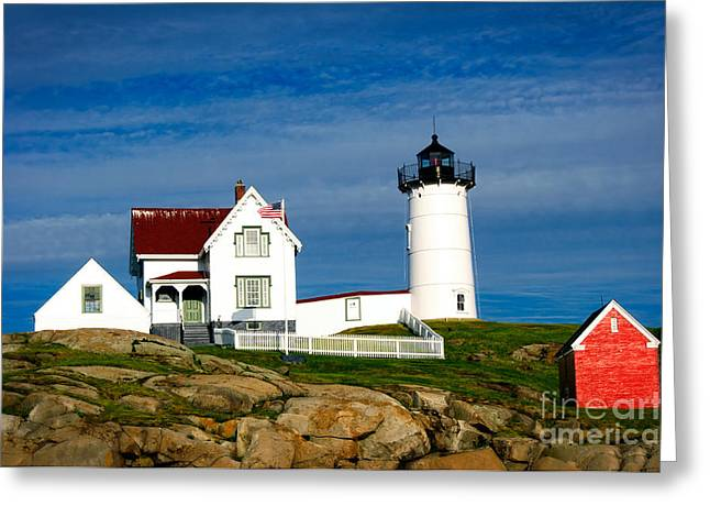 Cape Neddick Lighthouse Greeting Cards - Nubble Lighthouse Greeting Card by Charles Dobbs