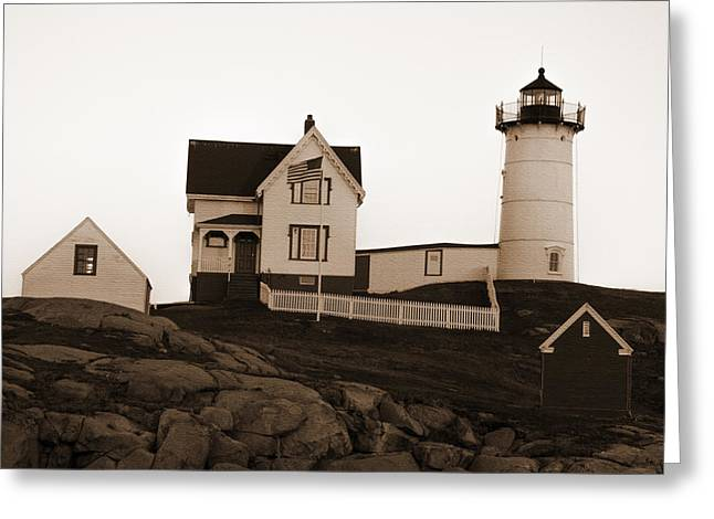 Old Maine Houses Greeting Cards - Nubble Lighthouse Greeting Card by Crystal Wightman