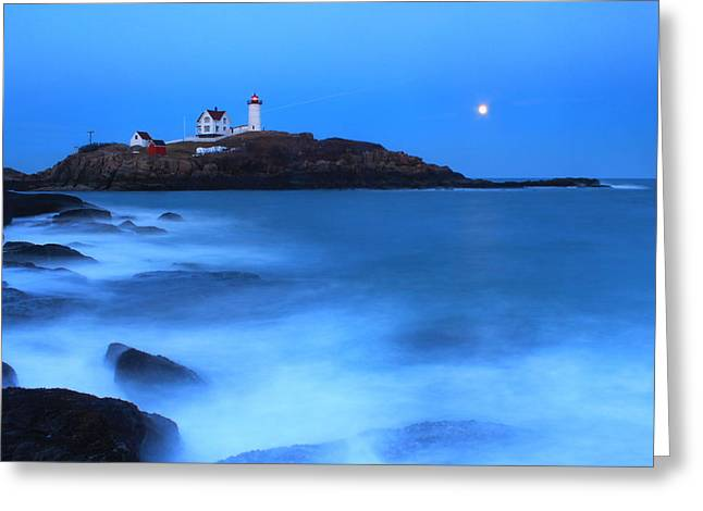 Cape Neddick Lighthouse Greeting Cards - Nubble Lighthouse Full Moon Tide Greeting Card by John Burk