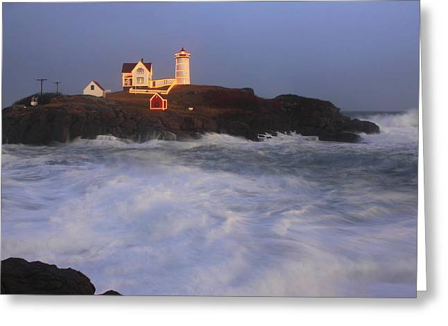 Nubble Lighthouse Holiday Lights and High Surf Greeting Card by John Burk