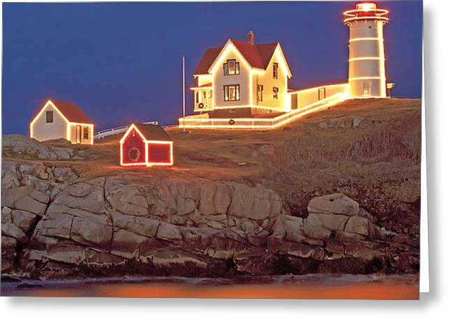 Nubble Lighthouse-Holiday lights Greeting Card by John Vose