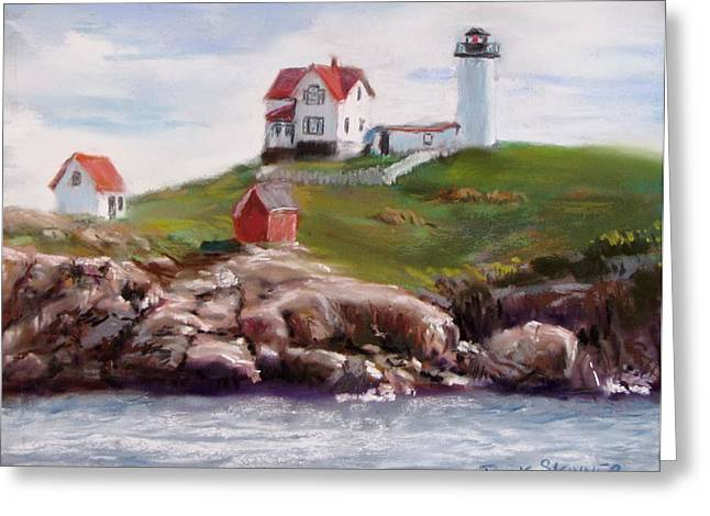 Maine Lighthouses Pastels Greeting Cards - Nubble Lighthouse in Pastel Greeting Card by Jack Skinner