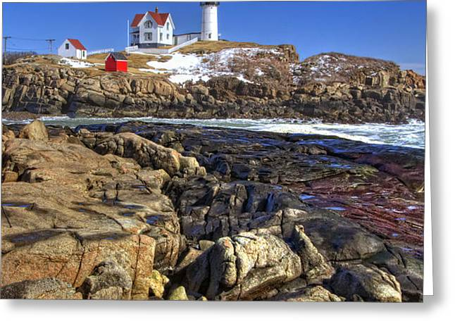 Nubble Lighthouse Greeting Card by Joann Vitali