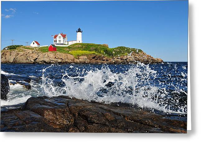 Cape Neddick Greeting Cards - Nubble Lighthouse Greeting Card by John Bednarz