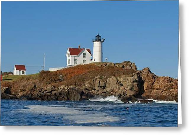 Maine Lighthouses Greeting Cards - Nubble Lighthouse Greeting Card by Joy Bradley