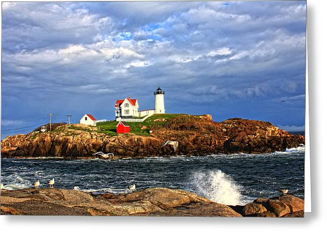 Nubble Lighthouse Greeting Card by Karen Winterholer