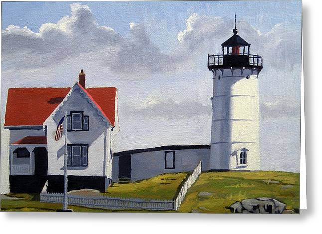 Nubble Lighthouse Paintings Greeting Cards - Nubble Lighthouse Maine Greeting Card by Christine Hopkins