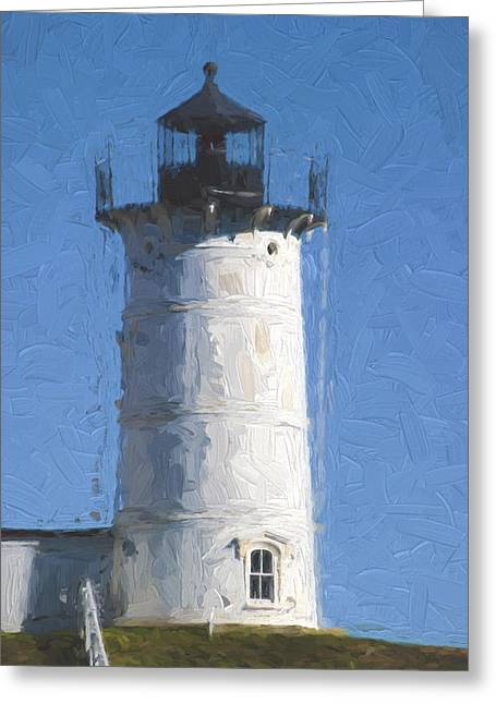 New England Lights Greeting Cards - Nubble Lighthouse Maine Painterly Effect Greeting Card by Carol Leigh