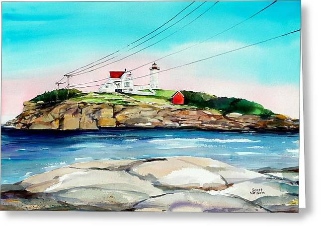 Scott Nelson And Son Paintings Greeting Cards - Nubble Lighthouse Maine Greeting Card by Scott Nelson