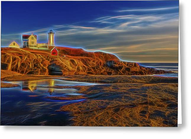 Maine Shore Greeting Cards - Nubble Lighthouse Neon Glow Greeting Card by Susan Candelario