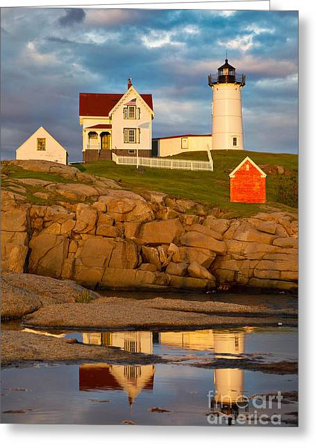 Storm Prints Digital Art Greeting Cards - Nubble Lighthouse No 1 Greeting Card by Jerry Fornarotto