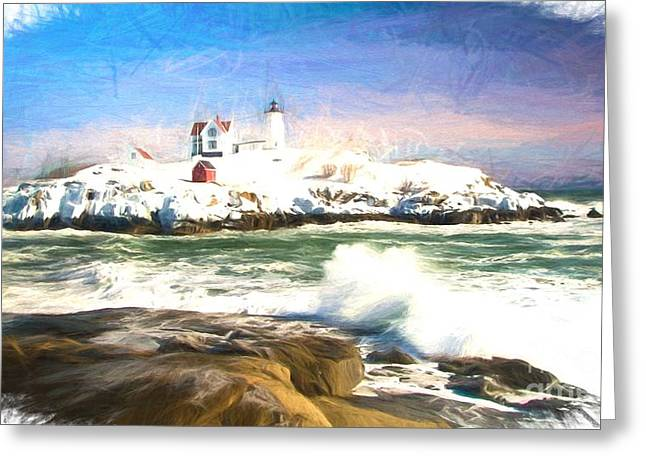 Cape Neddick Lighthouse Greeting Cards - Nubble Lighthouse oil painting style Greeting Card by Melanie McKennon
