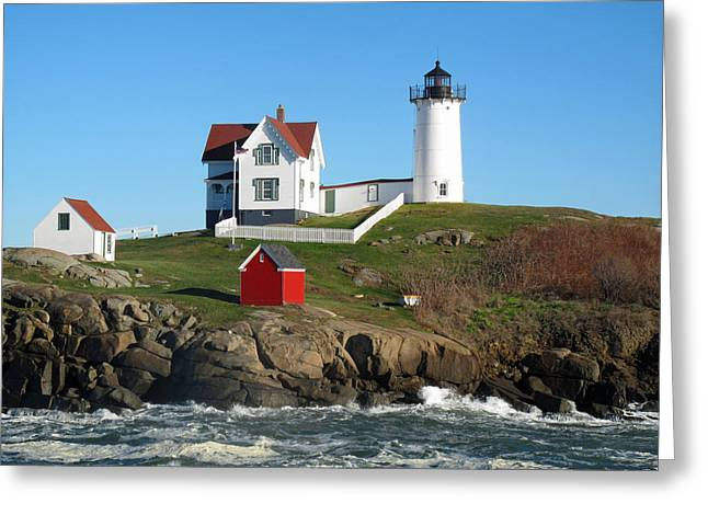 Cape Neddick Greeting Cards - Nubble Lighthouse One Greeting Card by Barbara McDevitt