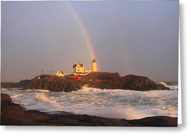 Best Sellers -  - Maine Lighthouses Greeting Cards - Nubble Lighthouse Rainbow and High Surf Greeting Card by John Burk