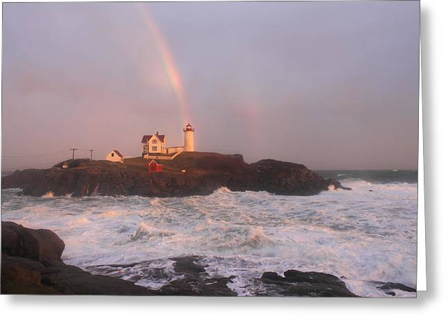 Nubble Lighthouse Rainbow and Surf at Sunset Greeting Card by John Burk