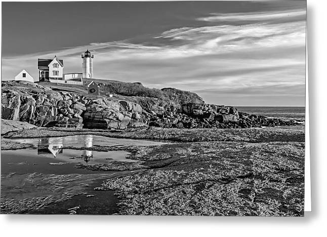 Faro Greeting Cards - Nubble Lighthouse Reflections BW Greeting Card by Susan Candelario