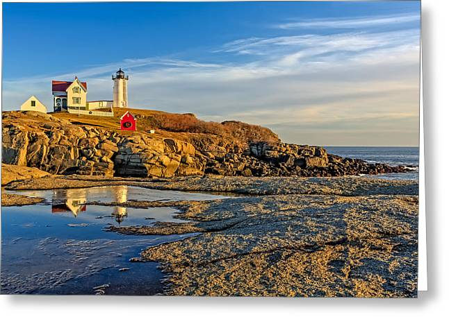 Faro Greeting Cards - Nubble Lighthouse Reflections Greeting Card by Susan Candelario