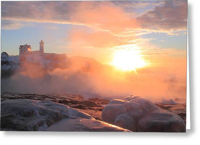 Cape Neddick Lighthouse Greeting Cards - Nubble Lighthouse Sea Smoke Sunrise Fog Greeting Card by John Burk