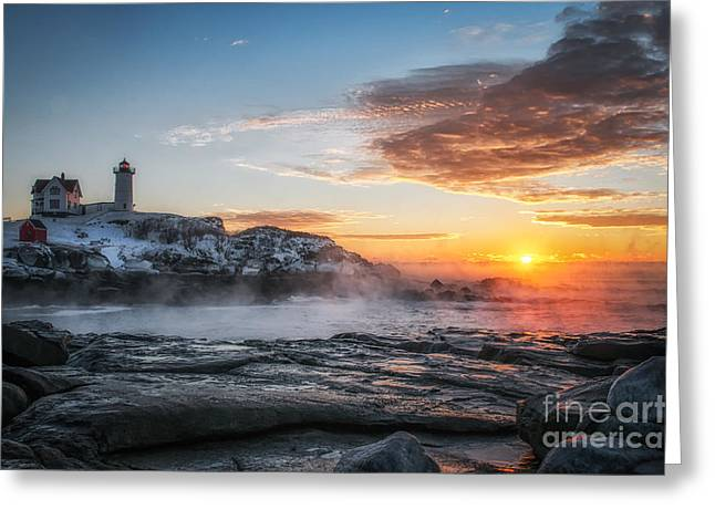 Nubble Lighthouse Sea Smoke Sunrise Greeting Card by Scott Thorp