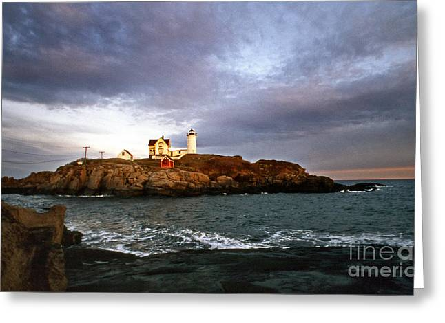 Maine Beach Greeting Cards - Nubble Lighthouse Greeting Card by Skip Willits