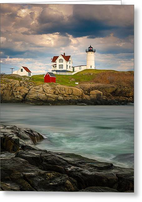 Cape Neddick Lighthouse Greeting Cards - Nubble Lighthouse Greeting Card by Steve Zimic