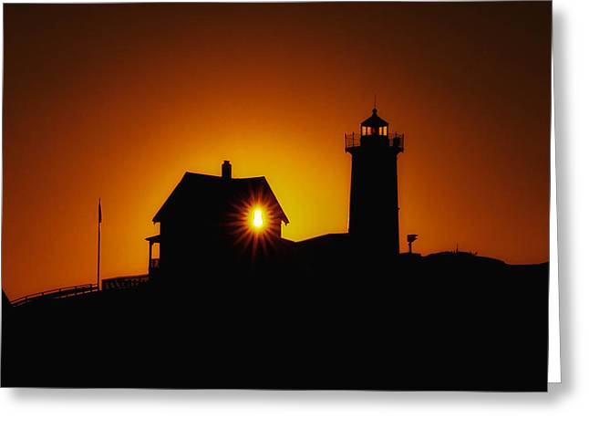 Nubble Lighthouse Sunrise Starburst Greeting Card by Scott Thorp