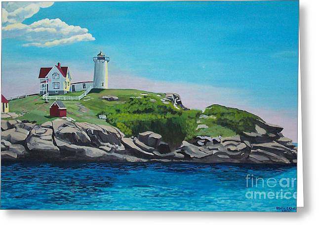 Nubble Lighthouse Paintings Greeting Cards - Nubble Lighthouse Sunrise Greeting Card by Stella Sherman