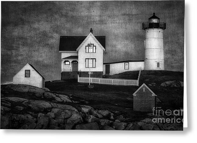 Sohier Park Greeting Cards - Nubble Lighthouse Texture BW Greeting Card by Jerry Fornarotto