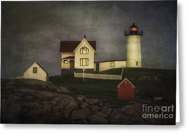 Nubble Lighthouse Texture Greeting Card by Jerry Fornarotto