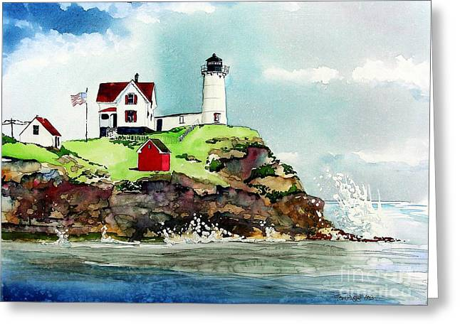 Nubble Lighthouse Paintings Greeting Cards - Nubble Lighthouse Greeting Card by Tom Riggs