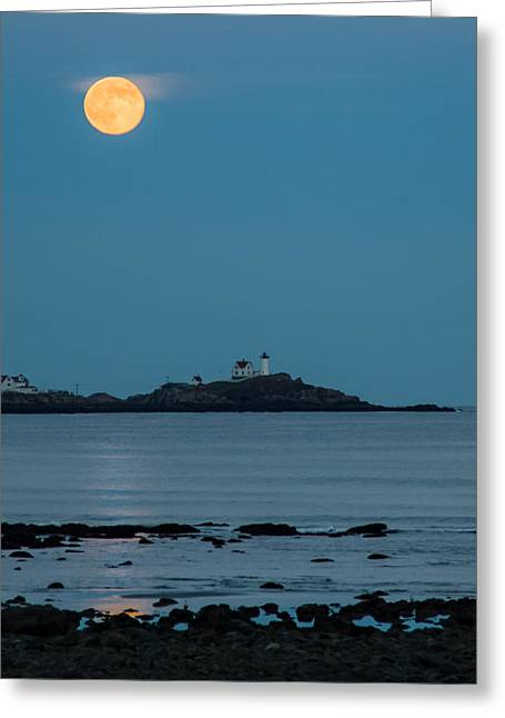Cape Neddick Lighthouse Greeting Cards - Nubble lighthouse under full moon Greeting Card by Jeff Folger
