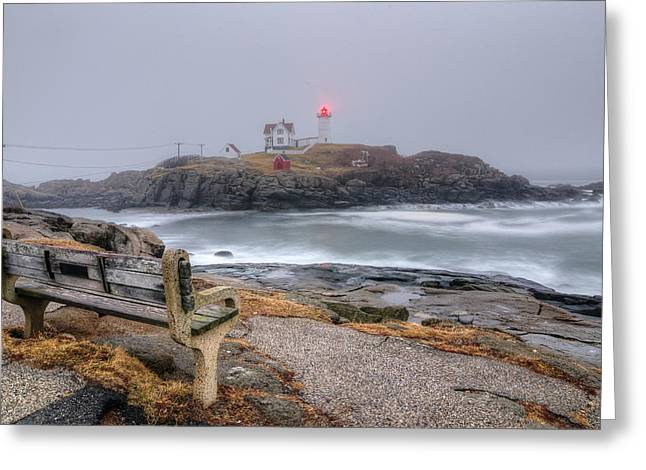 Cape Neddick Greeting Cards - Nubble Lighthouse View Greeting Card by Donna Doherty