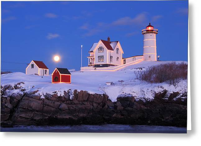 York Beach Greeting Cards - Nubble Lighthouse Winter Moon Greeting Card by John Burk