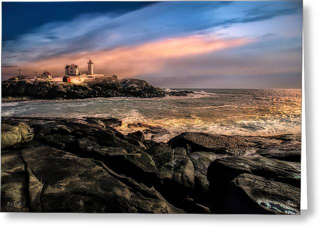 Cape Neddick Lighthouse Greeting Cards - Nubble Lighthouse Winter Solstice Sunset Greeting Card by Bob Orsillo