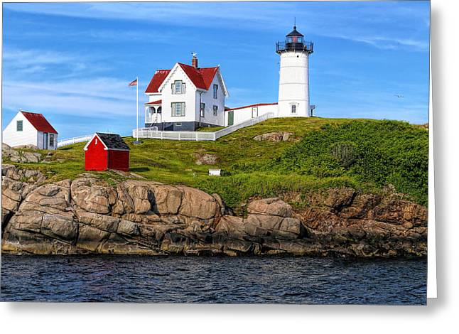 Nubble Lighthouse With Birds Greeting Card by Samuel Abrahamson